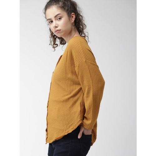 FOREVER 21 Women Mustard Yellow Self Design Cardigan