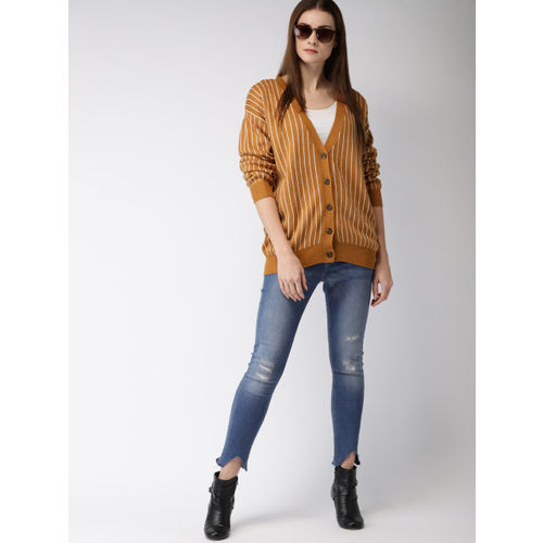 FOREVER 21 Women Mustard Yellow & White Striped Cardigan