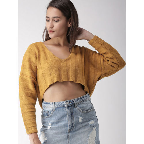 FOREVER 21 Women Mustard Yellow Solid Crop Pullover Sweater