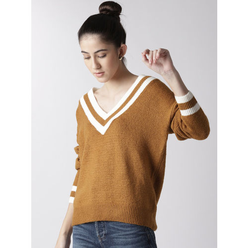 FOREVER 21 Women Mustard Brown Solid Pullover
