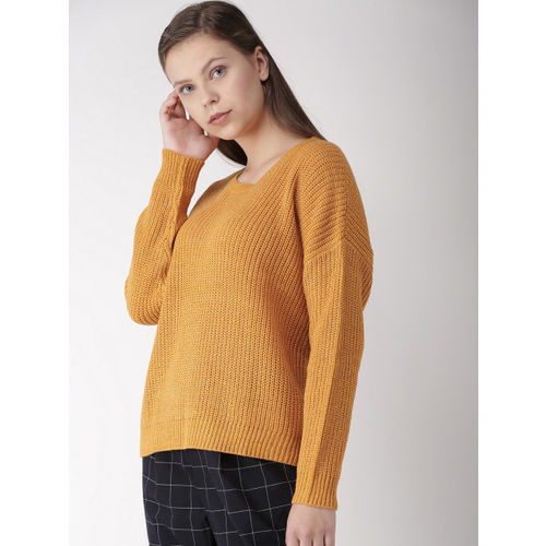 FOREVER 21 Women Mustard Yellow Solid Pullover Sweater