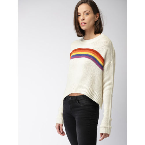 FOREVER 21 Women Off-White Striped Pullover