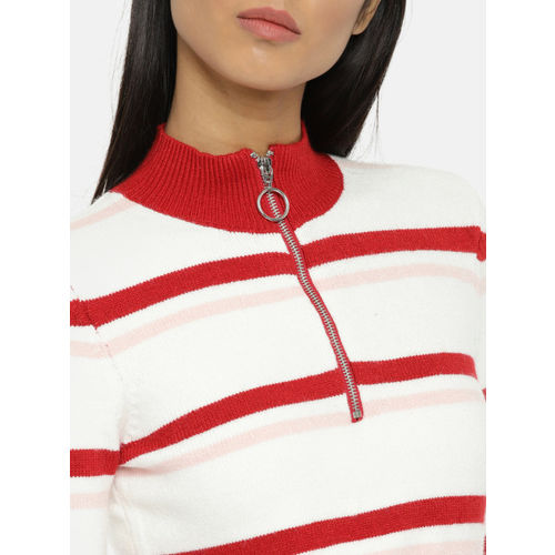 FOREVER 21 Women Off-White & Red Striped Cropped Pullover