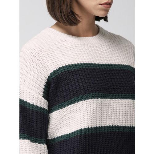 FOREVER 21 Women Off-White & Navy Blue Striped Pullover