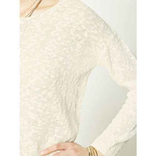 FOREVER 21 Women Off-White Semi-Sheer Self-Design Sweater