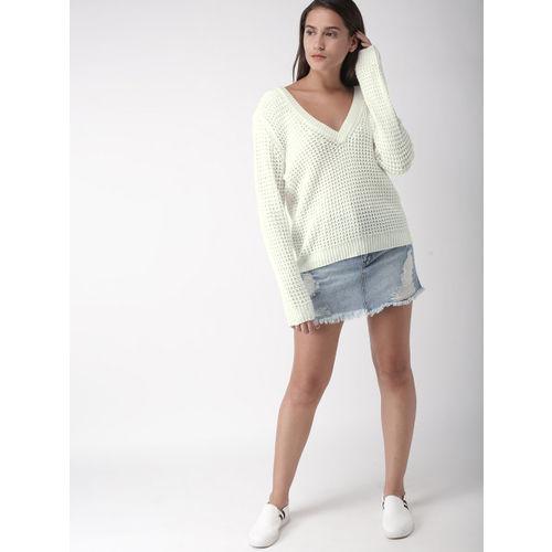 FOREVER 21 Women Off-White Self Design Pullover