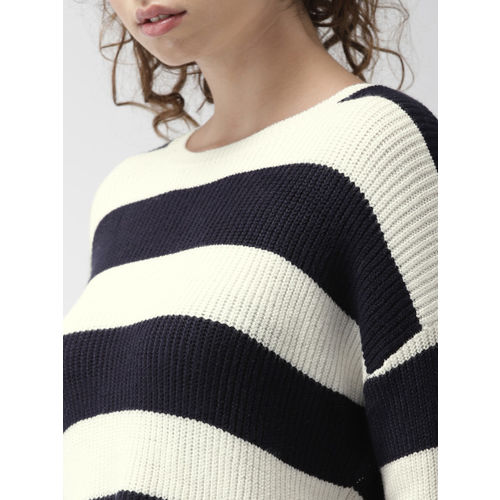 FOREVER 21 Women Off-White & Navy Blue Striped Pullover