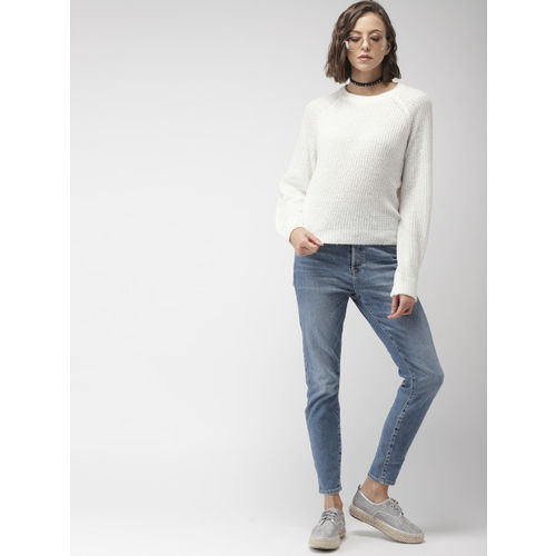 FOREVER 21 Women White-Coloured Solid Pullover Sweater