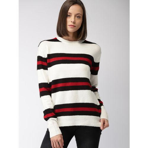 FOREVER 21 Women White & Black Striped Pullover Sweater