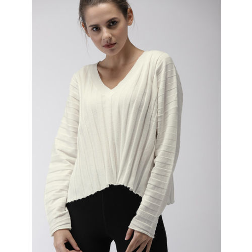 FOREVER 21 Women White Solid Pullover