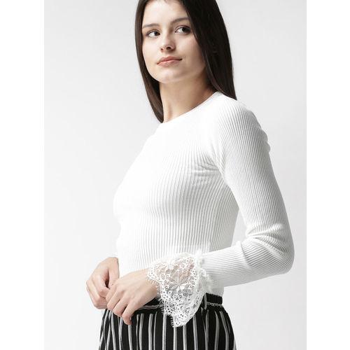 FOREVER 21 Women White Solid Pullover
