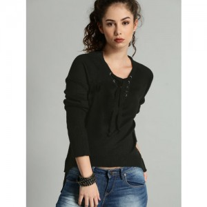 Roadster Women Black Solid Pullover
