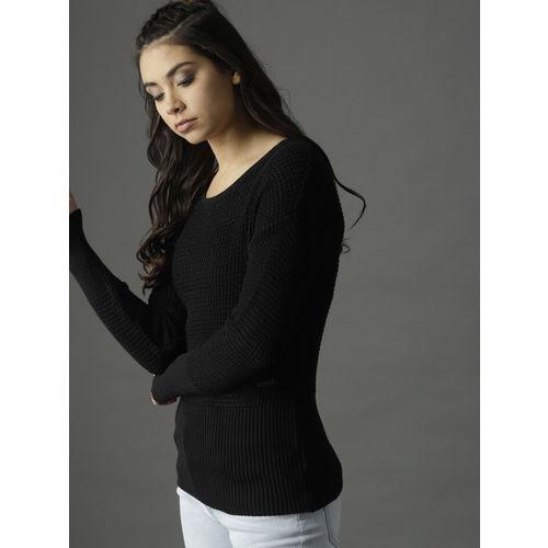 Roadster Women Black Open Knit Pullover