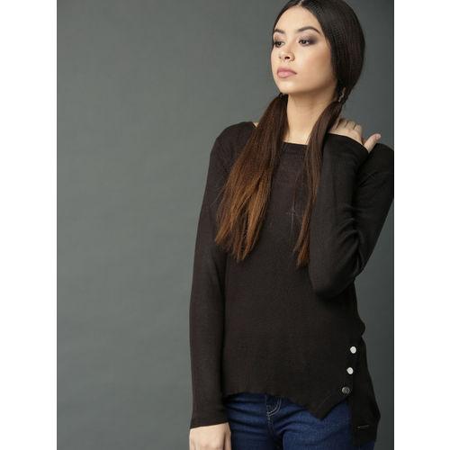 Roadster Women Black Self Design Sweater