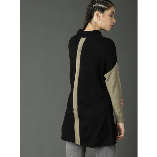 Roadster Women Black & Beige Solid Pullover