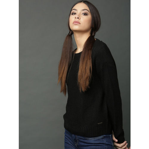 Roadster Women Black Self Design Styled Back Sweater