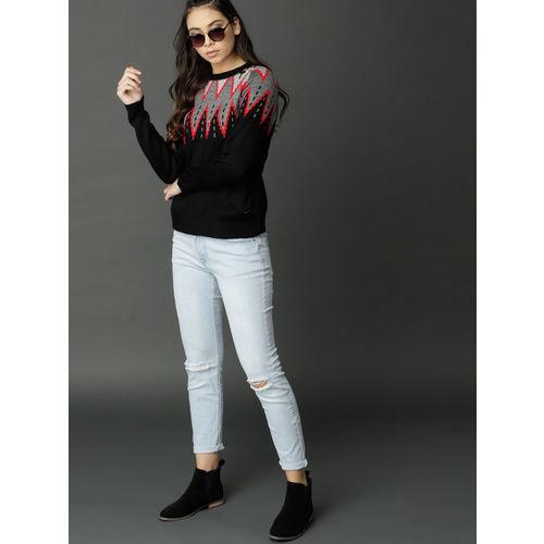 Roadster Women Black & Grey Self Design Pullover