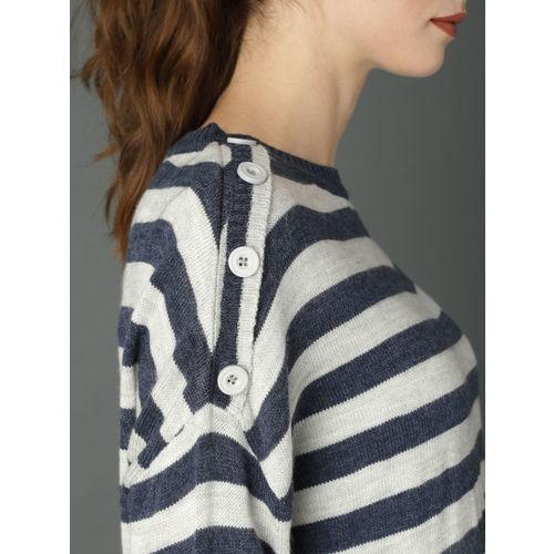 Roadster Women Navy Blue & Grey Striped Pullover Sweater