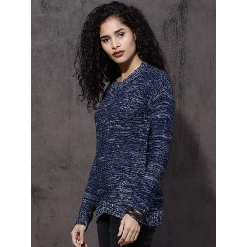 Roadster Women Blue Self Design Pullover