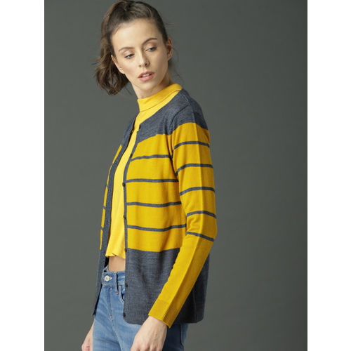 Roadster Women Navy Blue & Yellow Striped Cardigan