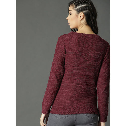 Roadster Women Maroon Self Design Pullover