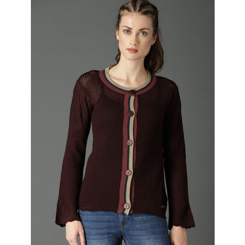 Roadster Women Maroon Solid Cardigan