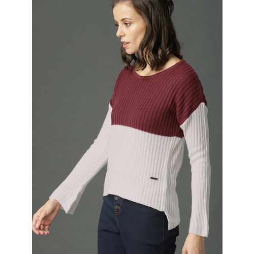 Roadster Women Maroon & White Striped Pullover