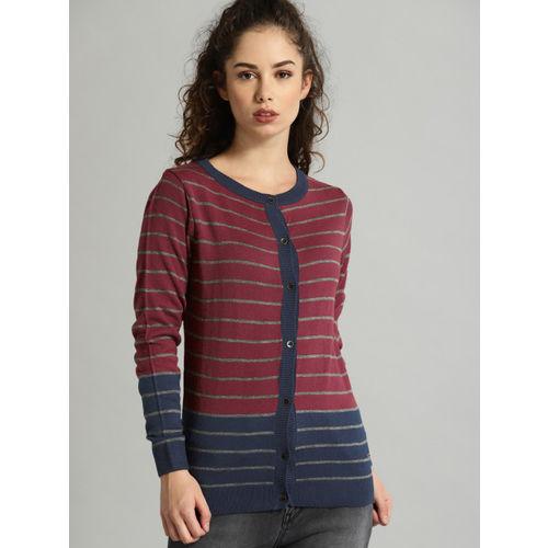 Roadster Women Red & Blue Striped Cardigan