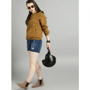 Roadster Women Mustard Brown Yellow Solid Front-Open Sweater
