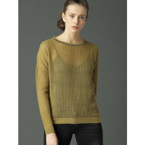 Roadster Women Mustard Self Design Pullover