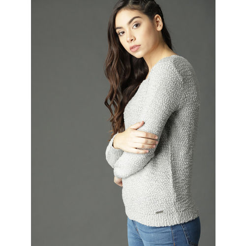 Roadster Women Grey Boucle Pullover