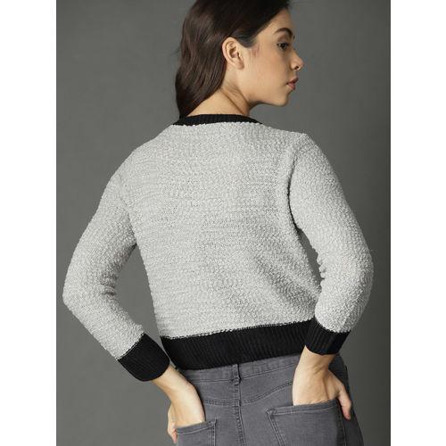 Roadster Women Grey Solid Cropped Cardigan