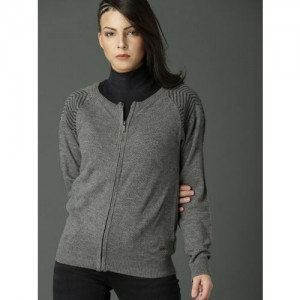 Roadster Women Grey Solid Cardigan