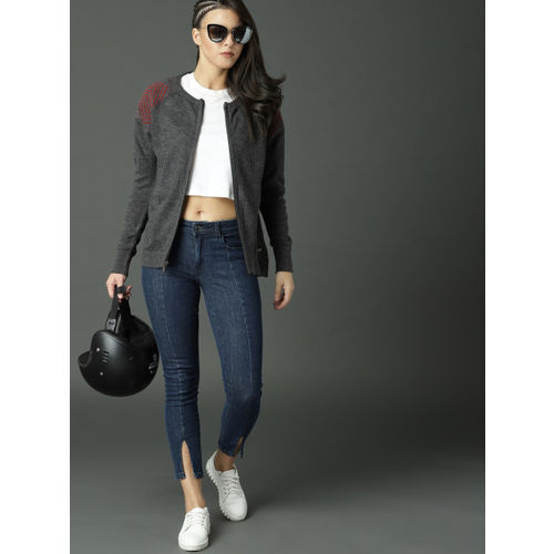Roadster Women Charcoal Solid Cardigan