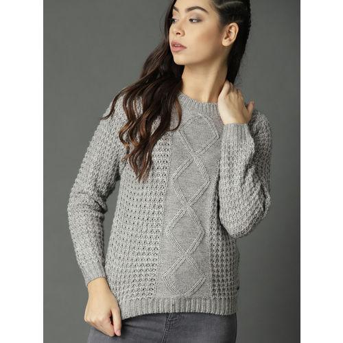 Roadster Women Grey Melange Open Knit Pullover