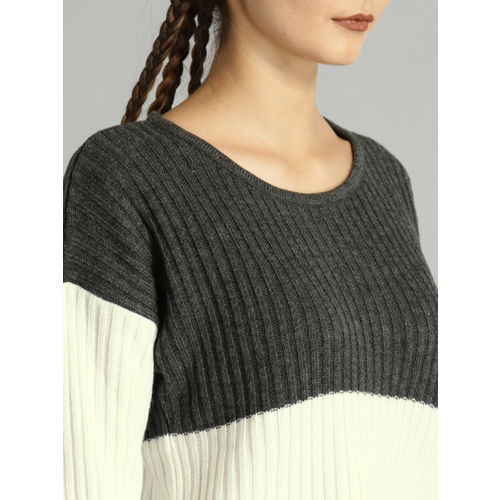 Roadster Women Charcoal Grey & White Colourblocked Pullover