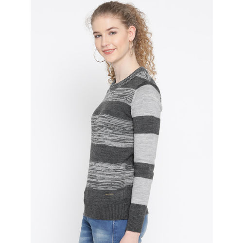 Roadster Women Grey Melange Striped Sweater
