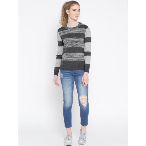 Roadster Women Grey Melange Striped Sweater