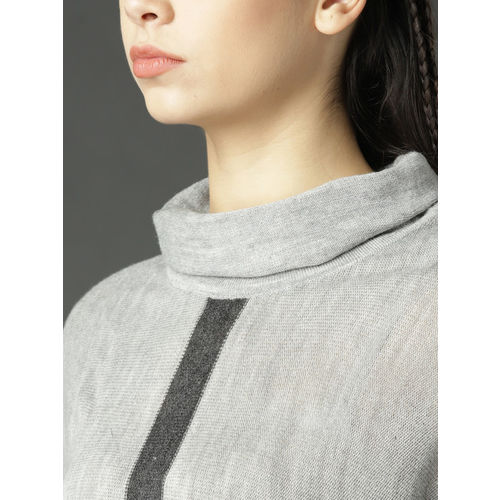 Roadster Women Grey Melange Solid Pullover