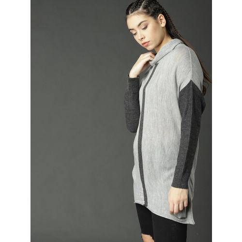 Roadster Women Grey Melange Solid Pullover