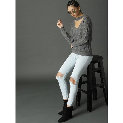 Roadster Women Grey Open-Knit Pullover