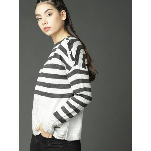 Roadster Women Grey Striped Pullover
