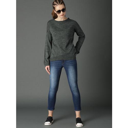 Roadster Women Grey Melange Solid Pullover Sweater
