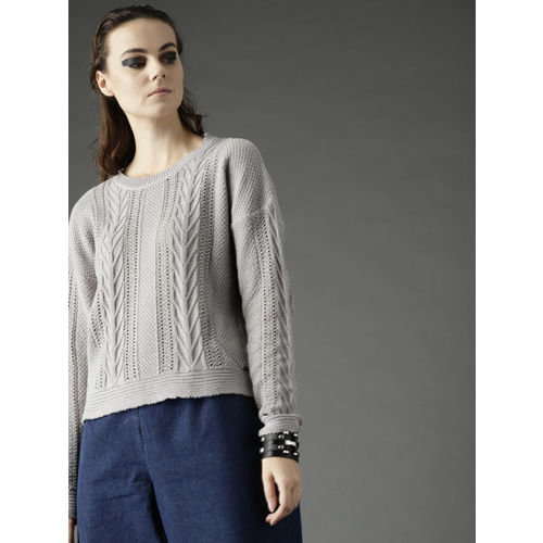 Roadster Women Grey Open Knit Pullover