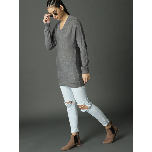 Roadster Women Charcoal Grey Solid Pullover