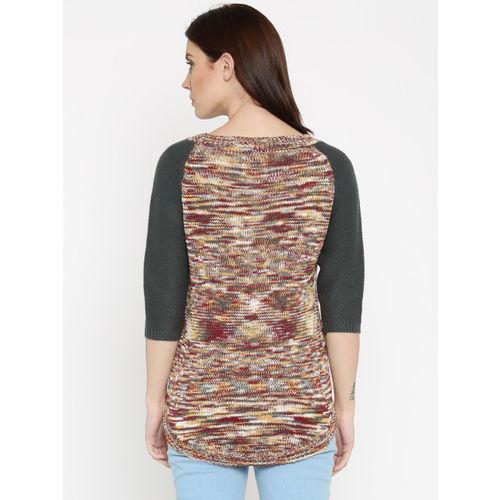 Roadster RDSTR Women Charcoal Grey & Brown Self-Design Sweater