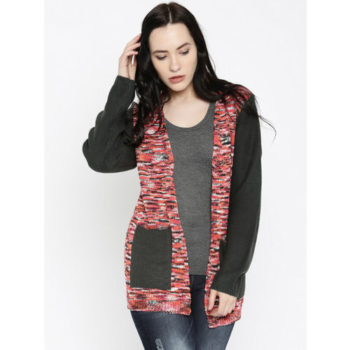 Roadster RDSTR Women Charcoal Grey & Red Self-Design Sweater