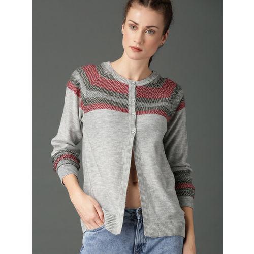 Roadster Women Grey Melange Self Design Cardigan