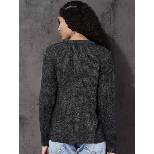 Roadster Women Charcoal Grey Solid Pullover Sweater