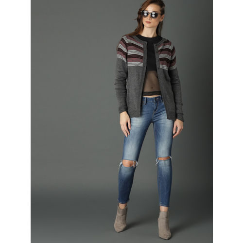 Roadster Women Charcoal Striped Cardigan